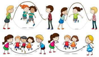 Barn hoppar rep