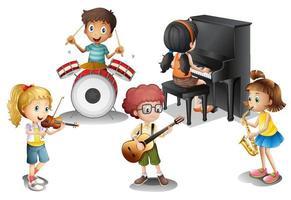 En grupp barn som spelar musik vektor