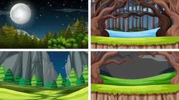 Uppsättning av scener i naturinställning på natten vektor