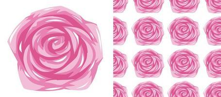 Rosa rosmönster på vitt