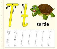 Arbeitsblätter für Buchstaben-T-Tracing-Alphabete vektor