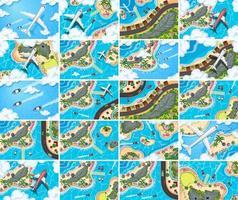 Reihe von Luftbild-Szenen vektor