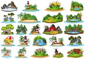 Uppsättning av olika växter och landskap