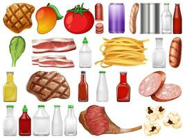 Satz Lebensmittel- und Behältergegenstände vektor