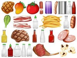 Uppsättning av mat- och behållarföremål vektor