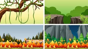 Uppsättning av scener i naturinställning vektor