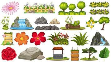 Uppsättning av stenar och olika växter