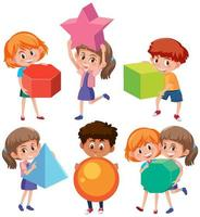 Kindercharakter, der Geometrieformen hält vektor