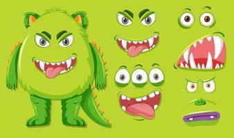 Grönt monster med olika ansiktsuttryck vektor