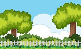 Baum und Busch hinter der Zaun-Szene vektor