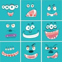 Uppsättning av monster ansiktsuttryck vektor