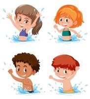 Barn som plaskar i vattenscen vektor