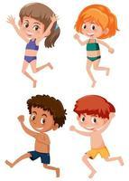 Glada barn som väntar badkläder vektor