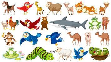 Uppsättning av många vilda djur