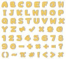 Gelbes englisches Alphabet und Zahl auf weißem Hintergrund