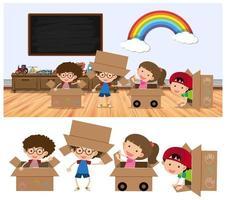 Barn som leker i askar på vit