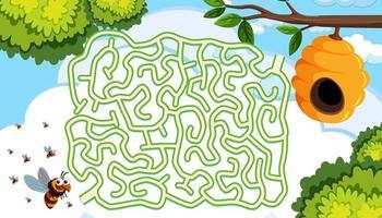 Bienenstock Labyrinth Puzzle-Konzept vektor