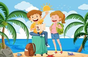 Ein Backpacker im Sommerurlaub vektor
