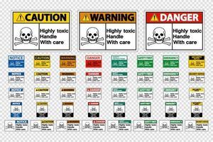 Ställ in mycket giftigt handtag med omsorgsskyltar