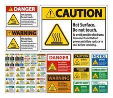 Heiße Oberfläche, berühren Sie nicht Zeichensatz