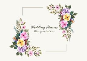 Hochzeitseinladung blüht Rahmenkartendesign vektor