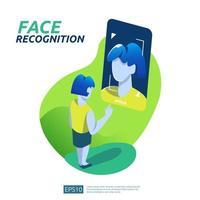 Gesichtserkennungssystem scannt auf dem Smartphone vektor