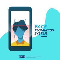 Gesichtserkennungssystem scannt auf dem Smartphone
