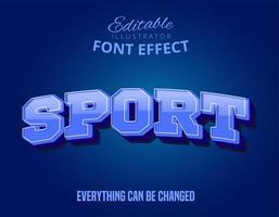 Blauer Sporttext, editierbarer Texteffekt vektor
