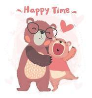 flach glücklich Papa und Sohn Teddybär Umarmung mit glücklicher Zeit