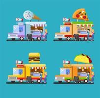 Food Truck ikonuppsättning vektor