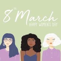 Internationell kvinnodagstecken med porträtt av tre olika kvinnor