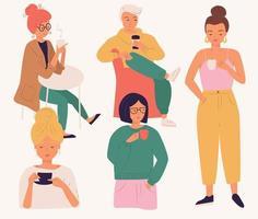 Grupp ungdomar som dricker kaffe