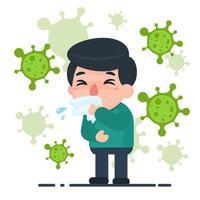 Tecknad manlig sjuk med influensa och bakterier vektor