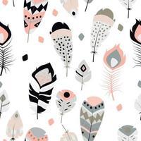 Nahtloses Muster mit ethnischen Federn der Weinlese