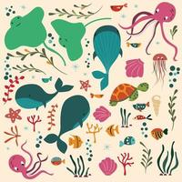 Samling av färgglada havs- och havdjur