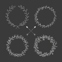 Handritade vintage pilar och blommig element vektor