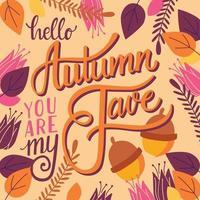 Hösten du är min fave, handbokstäver design vektor