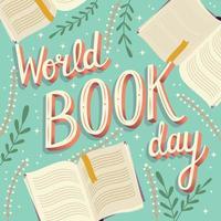 Weltbuchtag, modernes Plakatdesign der Handbeschriftungstypographie mit offenen Büchern
