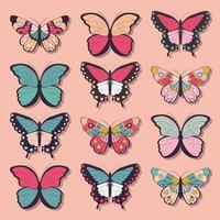 Samling av tolv färgglada handritade fjärilar
