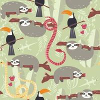 Seamless mönster med regnskogsdjur, tukan, orm, dovendyr