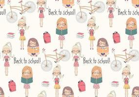 Tillbaka till skolans sömlösa mönster med skolflickor, cykel och böcker vektor