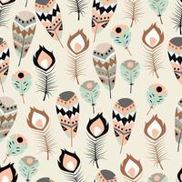 Seamless mönster med färgglada fjädrar i boho-stammar