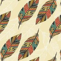 Seamless mönster med etniska handritade färgglada fjädrar