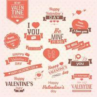 Sammlung Valentinstagweinleseaufkleber