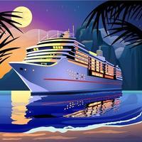 Kreuzschiff unter dem Mondschein auf einer tropischen Lagune vektor