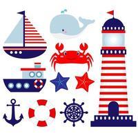Nautiska tema baby rum illustrationer