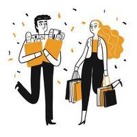 Teckenuppsättning av människor som shoppar