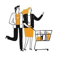 Karaktär uppsättning av folk livsmedelsbutiker shopping