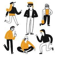 Teckenuppsättning av hipsters