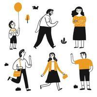 Teckenuppsättning av människor som går